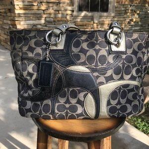 Coach black and silver canvas bag